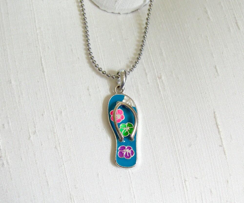 flip flop necklace tropical blue enamel thong sandal. Black Bedroom Furniture Sets. Home Design Ideas