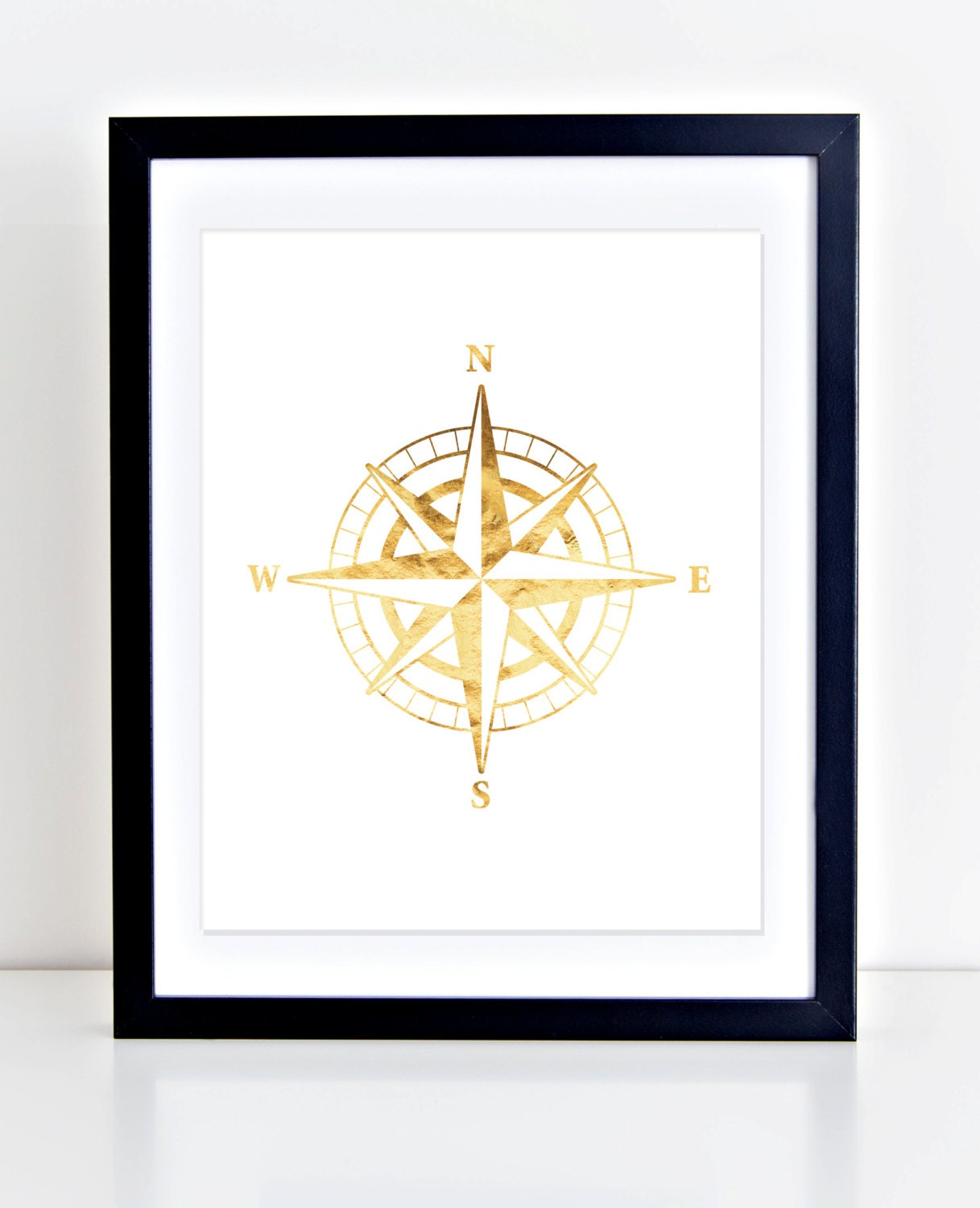 Compass Print Nautical Art Gold Foil Print Printable Wall