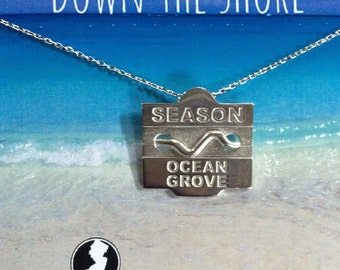 Ocean Grove - Jersey Shore Sterling Silver Beach Badge Necklace