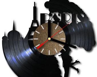 Vinyl wall clock Paris city