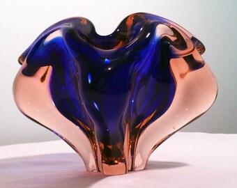 Vintage Mid Century Modern Murano style Handblown Glass Cigar Ash Tray Blue & Pink Rose
