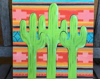 Hand Painted Cactus Wall Hanging