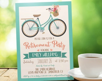 Vintage Bicycle, Retro Retirement Party Invitation - Personalized Printable DIGITAL FILE