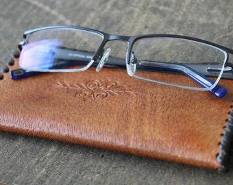 Leather Eyeglasses Case - Vintage Eyeglass Case - Leather Reading Glasses Case - Glasses Soft Case - Leather Glasses Box - Nar Mag