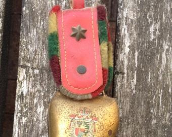 Genuine Vintage Cow Bell From Liechenstein. Very Colorful Trim & An Unusual Item.