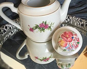Vintage tea pot sewing box with pin cushion top