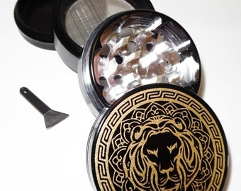 FREE SHIPPING - Royal lion grinder printed with metallic ink, 2 inch (medium size), No metallic taste guarantee