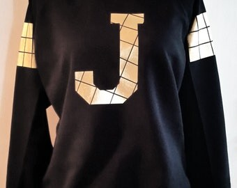 Custom Sweater Monogram Sweater Sweatshirt with Letter print personalized gift christmas birthday XS S M L XL XXL black gold