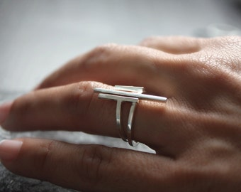 SILVER RING , ring geometric , contemporary jewelry , minimal jewelry, fine silver ring