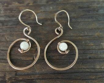 White onyx antiqued bronze loop dangle earrings, Onyx Earrings,bronze wire earrings, onyx bronze dangle earrings, Original OrangeKnot Design