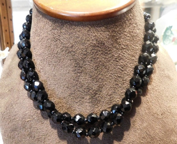 Art Deco / French Jet Black Glass Necklace / Choker  / GERMANY