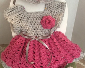 Crochet Baby dress, hat and booties