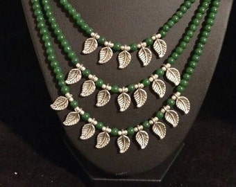 Three Strand Green Onyx Beaded Necklace