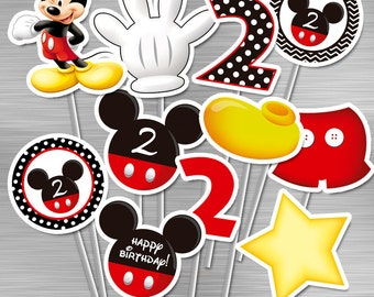 INSTANT DOWNLOAD Mickey Mouse Centerpieces Second 2nd Birthday Party Printables Birthday Party DIY