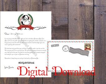 Editable Letter From Santa plus envelope - white background