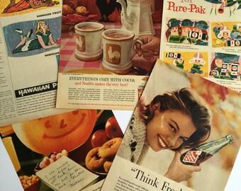 Lot of Vintage 1960s Food Ads - 1960s Advertising  - Vintage Magazine Ads - Kool Aid - Hawaiian Punch - Royal Crown Cola - Nestle's
