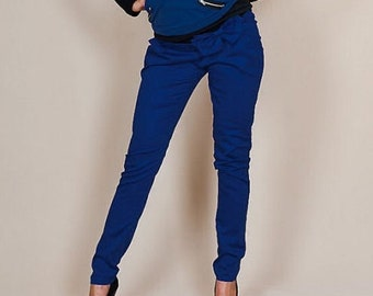 Maternity wear maternity pants trousers loop maternity pants blue