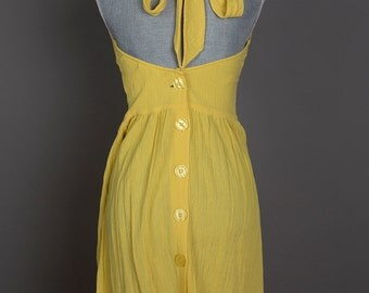 Pale Yellow Halter Button Back Summer Dress