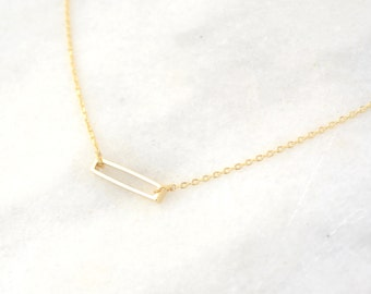 Minimalist Gold Bar necklace - Layering Necklace - Delicate Charm necklace - Dainty Necklace