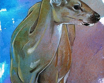Watercolor Deer Original Painting Watercolor Wildlife Art Realistic Deer Art Wild Animal Blue Purple Nature Art 5x7