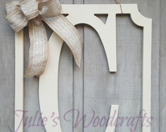 Initial Door Hanger Block Letter Wooden Rectangular Frame