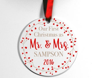 Our First Christmas Ornament, Newlywed Ornament, Christmas Ornament, Mr & Mrs Ornament, Wedding Gift, Couples Ornament, Custom Ornament