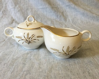 Vintage Universal Ballerina Wheat Sugar Bowl and Creamer with Gold Trim, Mid Century Dishes