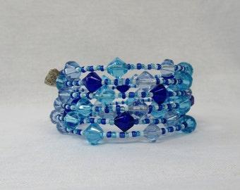 Mixed Blue Beaded Memory Wire Bracelet