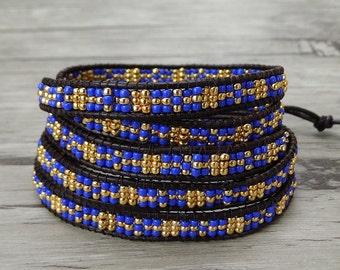 Royal blue Seed bead bracelet bead wrap bracelet leather wrap bracelet Leather bracelet 5 wraps bracelet yoga bracelet bead jewelry SL-0382