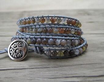 Leather Wrap Bracelet bracelet Grey Agate bead bracelet agate wrap bracelet yoga bracelet boho beaded bracelet bohemian bracelet SL-0155