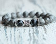 mens bracelet grey men jewelry gemstone bracelet men beaded bracelet mens husband gift him present for father mens dark bracelet boy hipster