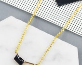 minimalist geometric necklace: marble chevron, black