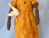 Primitive cloth dolls,  Sara, and friend
