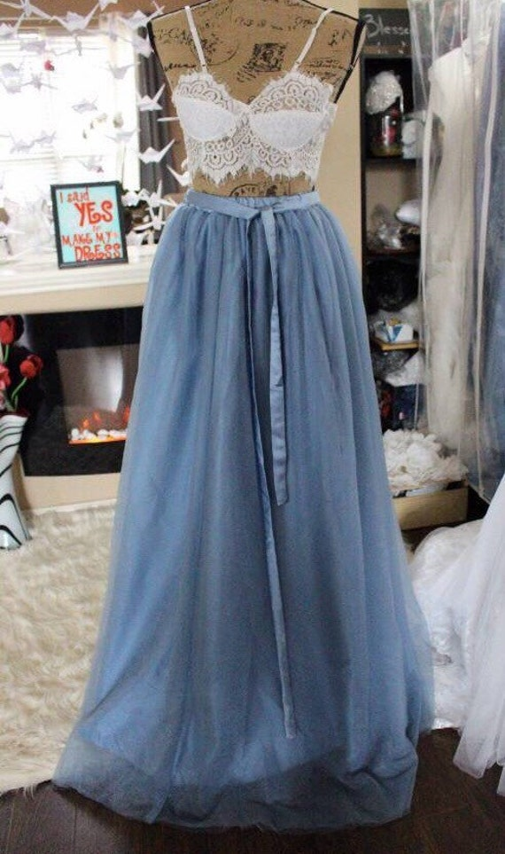 Dusty Blue Elastic Waistband Tulle Skirt / Floor Length Bridal