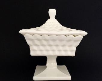 Fenton Hobnail Milk Glass Pedestal Dish with Lid; Hobnail Glass; Art Deco; Fenton Milk Glass