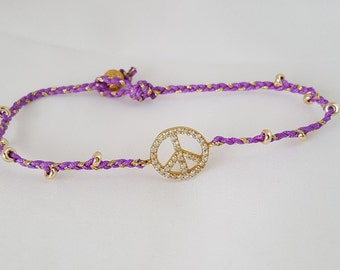 Peace friendship bracelet with Gold filled beads.