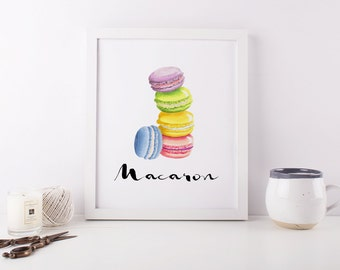 "Printable Art ""Macarons"" Macarons Print Macarons Printable Macaroon Wall Art Sweets Print Home Decor Kitchen Decor Food Print"