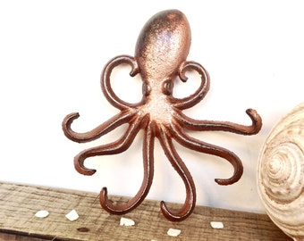 Copper Octopus Hook - Beach Decor - Copper Wall Art - Key Holder - Wall Key Hooks - Copper Decor - Octopus Wall Art - Rustic Bathroom Decor