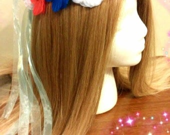 Flower Crown, Floral Headband, Australia Chile, Czech Republic, France Netherlands, Iceland Malaysia, American Flag, Fourth Of July