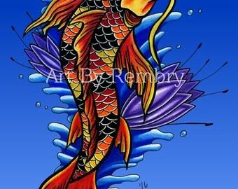 Koi Fish with Purple Lotus Print