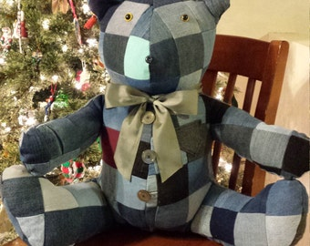 Quilted jean teddy bear