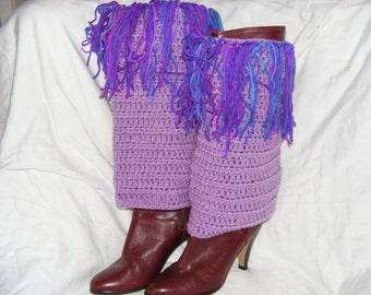Purple fringe leg warmers