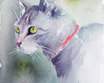 Cat watercolor - Original painting, Original Watercolour, Watercolor, cat watercolour - kitty watercolor painting