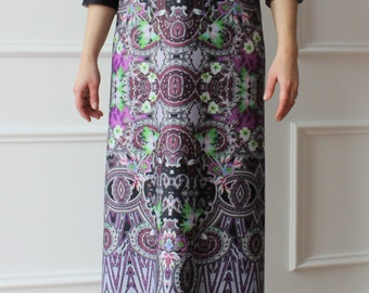 Long dress, printed dress, dress, dress patterned with machines, boho chic, ceremonial dress.