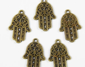 5x Bronze Hamsa Hand Charms - 21x14mm - Hand Of Fatima - Jewelry Supplies - Charms - Craft Supplies