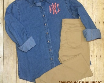 Monogram Denim Shirt | Monogram Chambray | Button Down Chembray Shirt | Bridesmaid Gift | Personalized Shirt