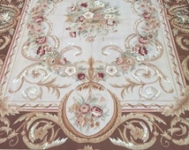 8' x 10' New Chinese Aubusson French Design Oriental Rug - Flat Weave - Hand Made - 100% Wool