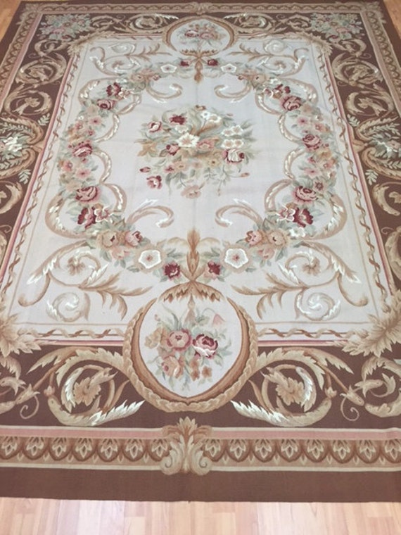 8' x 10' Chinese Aubusson French Design Oriental Rug - Flat Weave - Hand Made - 100% Wool