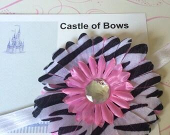"Zebra Print and Pink Gerber Daisy Large 4"" Flower Baby Headband with Rhinestone Center - Headband or Hair Clip - You Pick Headband Color"