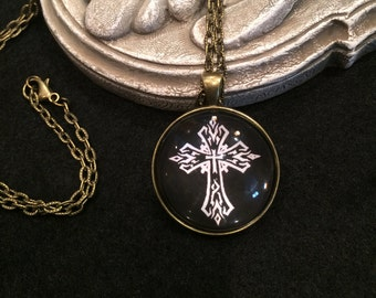 Gothic Cross Black and White Bronze or Silver Pendant Necklace Gothic Celtic